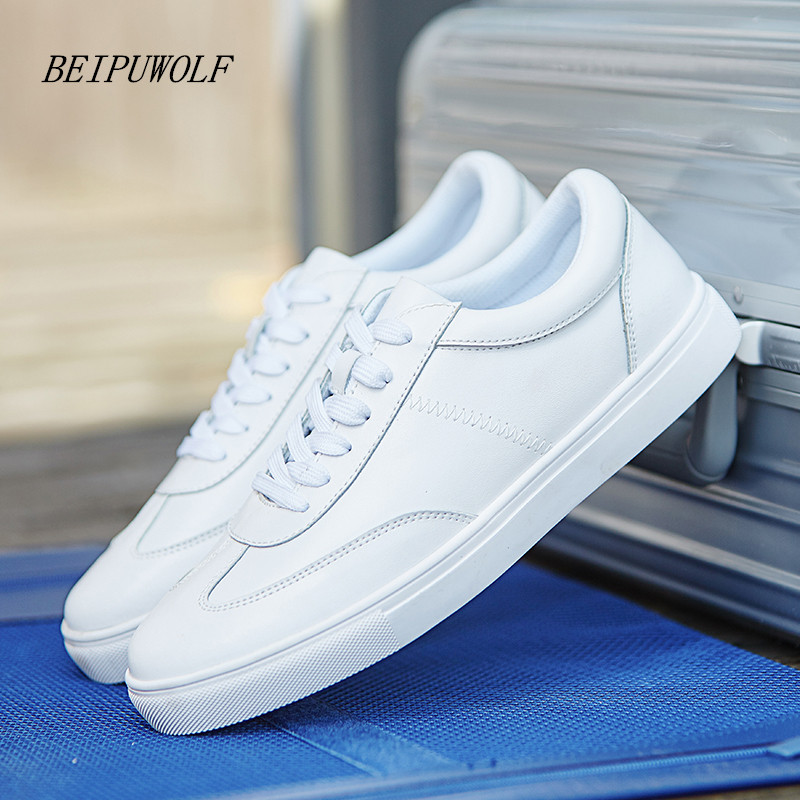 2017 New Genuine Leather Sports shoes Men Women Skateboarding Shoes Outdoor Athletic Student Shoes unisex sneakers White color nike men s indee high shoes athletic sneakers leather white