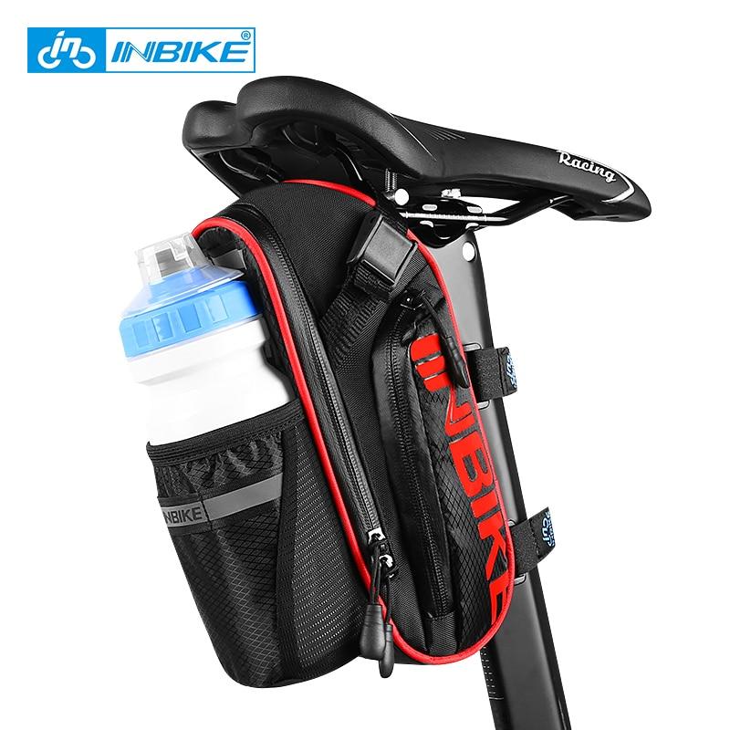 INBIKE velosipēdu seglu soma ar ūdens pudeles kabatu ūdensnecaurlaidīga MTB ceļu velosipēdu aizmugures somas velosipēdu aksesuāri sēdekļa stabs velosipēdu astes soma