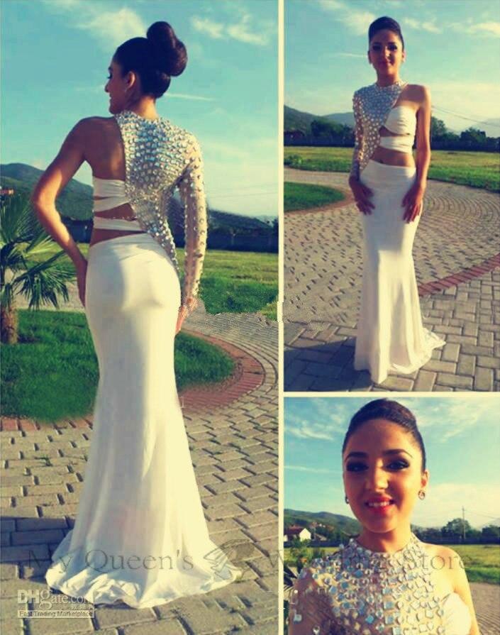 free shipping robe de soiree 2018 new hot&sexy one shoulder crystal long sleeve vestido de festa party gown   bridesmaid     Dresses