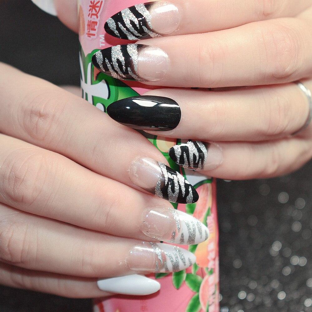 Shimmer Glitter Französisch Künstliche Nägel Zebra Muster Schwarz ...