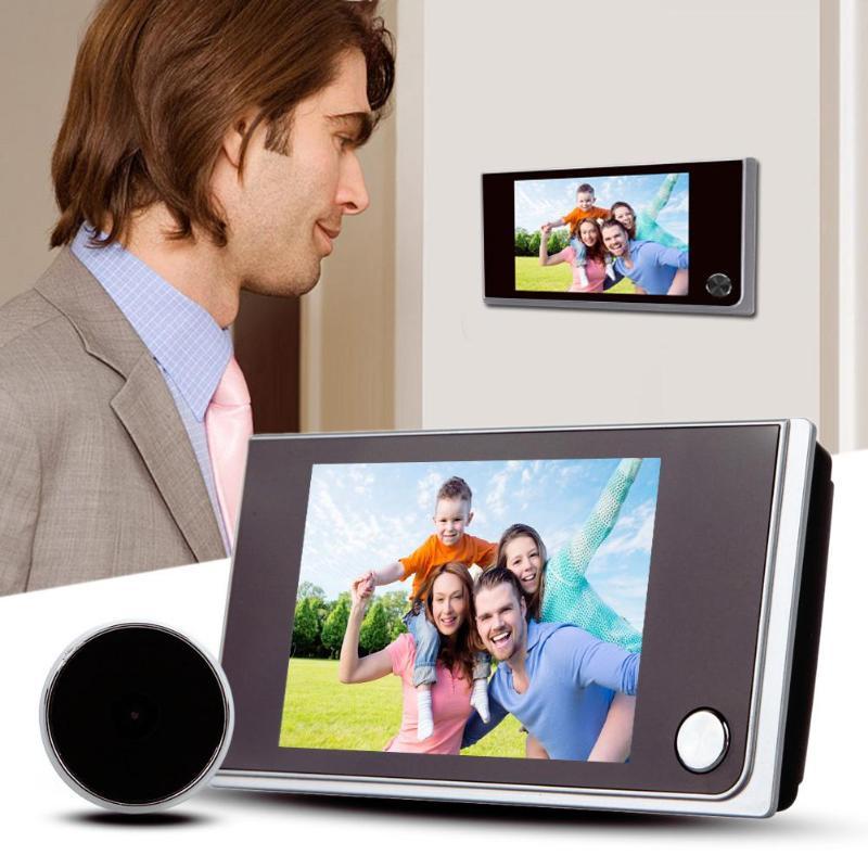 3.5 polegada digital porta câmera campainha lcd tela colorida 120 graus espectador olho mágico da porta campainha ao ar livre campainha da porta