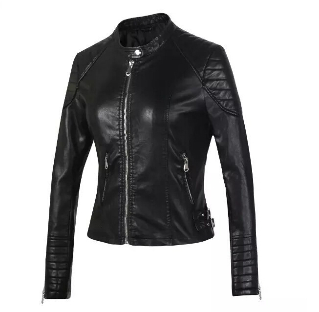 Winter thick New European and American Women Decorated Body sculpting Car PU Leather Leather Short Leather