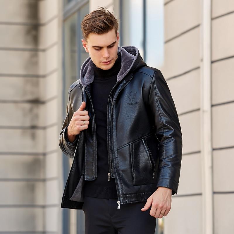2019 Lelaki Lelaki Kulit Jacket Winter Fleece Lelaki Lembut PU Kulit - Pakaian lelaki - Foto 4