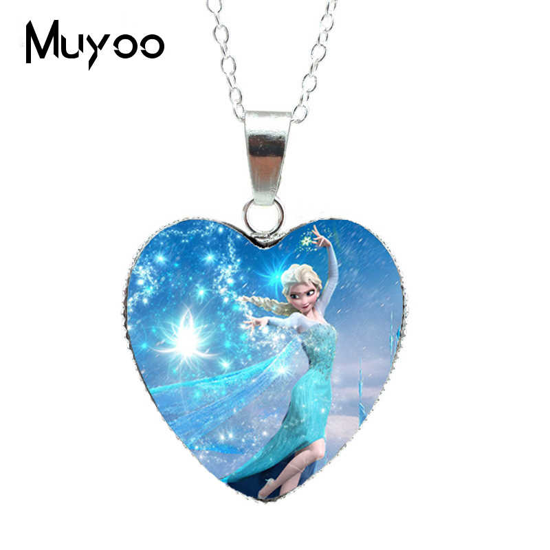 2019 Hot Selling Elegant Jewelry Elsa Anna Princess Snow Queen Anime Movie Silver Chains Glass Dome Heart Pendants NecklaceHZ3