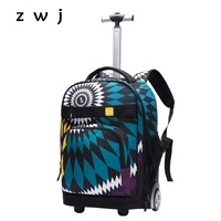Bohemian Rolling Luggage Student Backpack Men Women Travel Bag Children Carry On Suitcases With Wheels Trolley Backpack