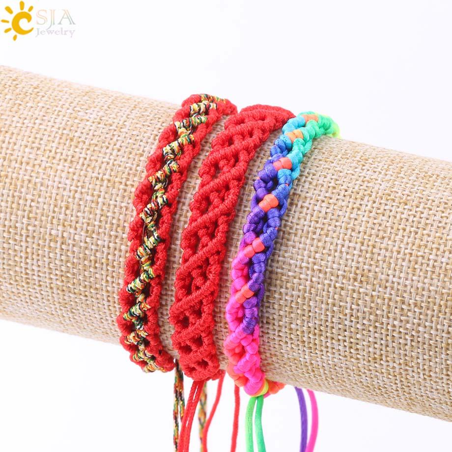 Csja Freundschaft Armband Für Frauen Kabbalah Armbänder Schnur Seil String Faden Weben Hand Einstellbare Schmuck Tropfen Verschiffen S212