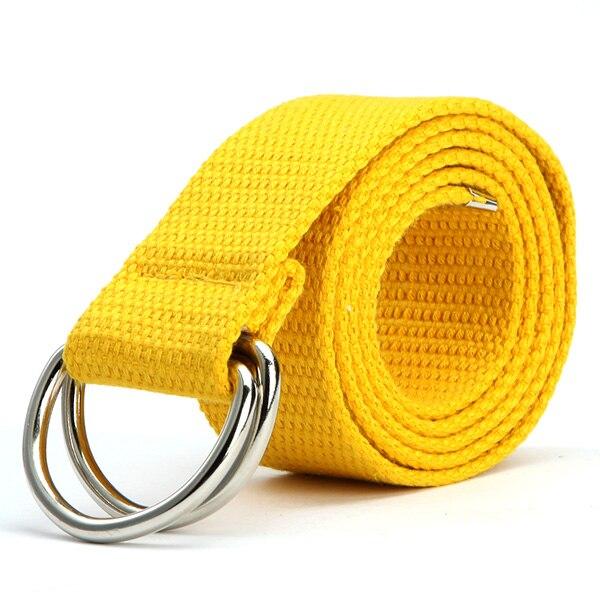 Трендовый модный ремень 10 цветов женский мужской холст двойное кольцо Пряжка повседневный Дикий тканый ремень - Цвет: Цвет: желтый