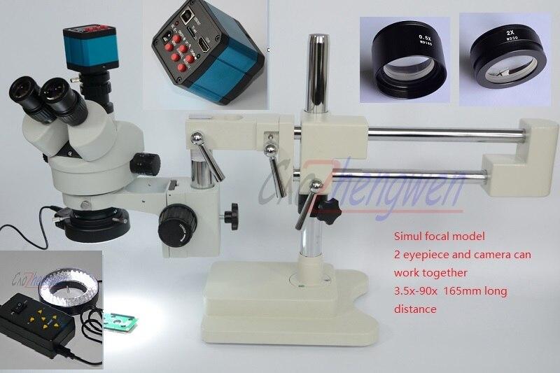 Fyscope микроскоп набор 3.5X-90X микроскоп ДВОЙНОЙ Boom Stand Simul фокусных расстояний Стерео Увеличить микроскоп + 14MP HDMI + 4 зона управления LED