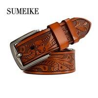 NEW 2017 Fashion Carved Leather Belt Men High Quality Waist Belt For Men