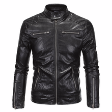 Aowofs 2019 New England Mens Leather High Quality Collar Locomotive Punk Trend Personality Jacket