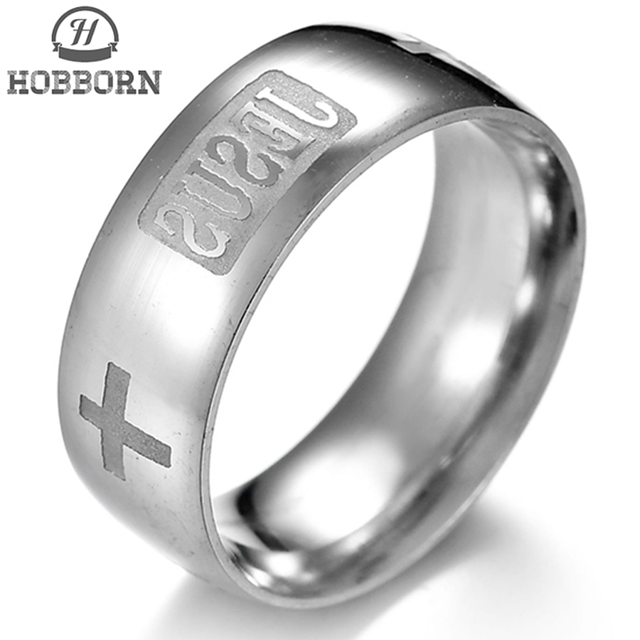 HOBBORN Fashion Jesus Titanium Steel Ring 316L Stainless Steel Cross Rings for Man Women Religious Letter Wedding Finger Jewelry
