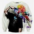 2015 Осень/зима новый толстовка мужская мода 3D футболка новинка пистолет клоун печати sudaderas размер S-XL