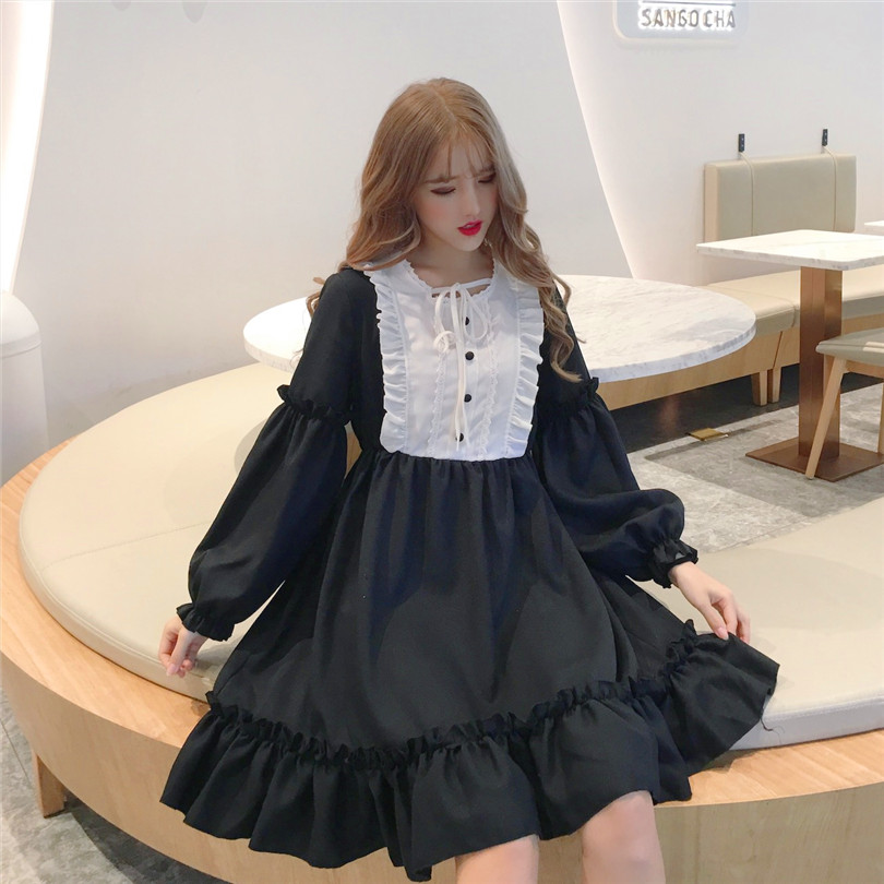 55fb4893af222 Buy Ruffle Collar Dress Preppy And Get Free Shipping (Special Price ...