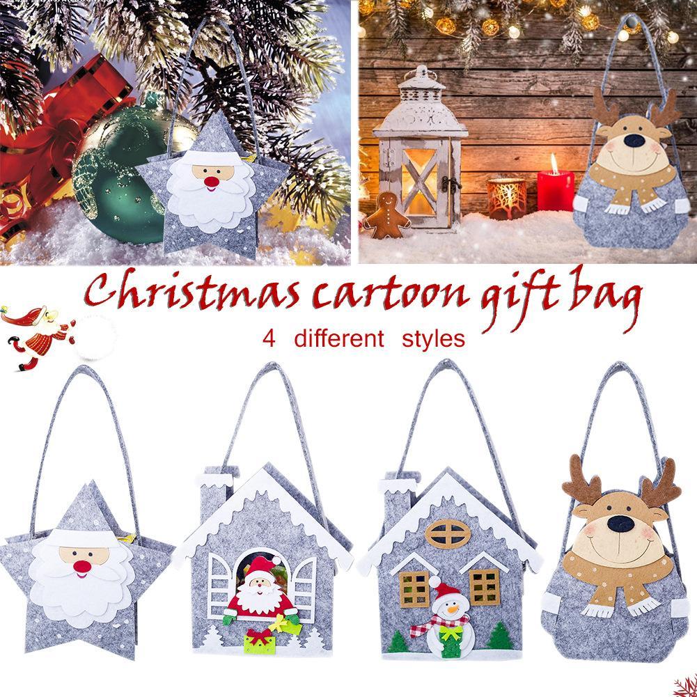 hot christmas fleece tote bag christmas mini storage bag candy cloth bag elk snowman santa claus kid gift handbag decoration in stockings gift holders - Christmas Fleece