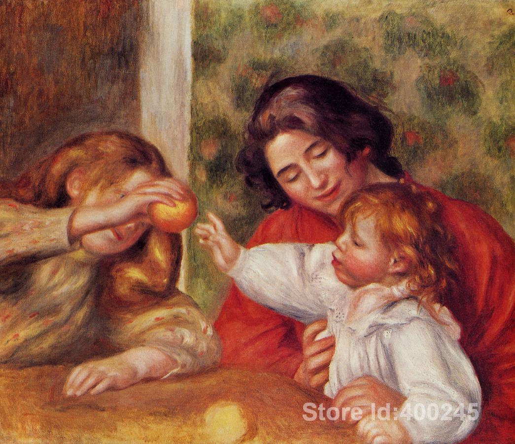 Peintures de Pierre Auguste Renoir Gabrielle Jean et une petite fille peint à la main art sur toile de haute qualité
