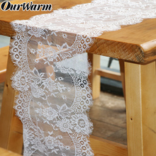 OurWarm 10pcs White Lace Table Runner Cloth Chair Sash Banquet Dinner Room Boho Wedding Baptism Party Decoration 300cm