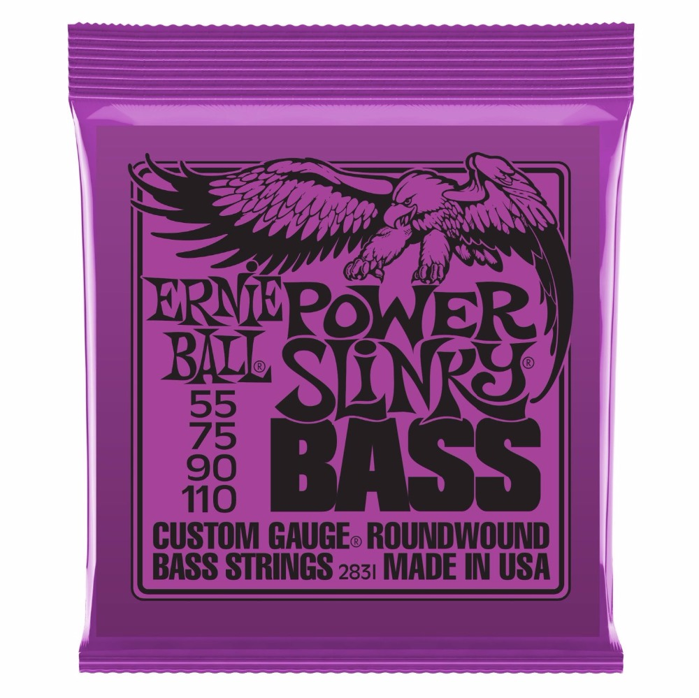 Ernie Ball 2831 Slinky Round Wound Power Bass Guitar Strings 055-110 ernie ball 2720 cobalt power slinky electric guitar strings 011 048