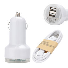 new Dual USB 2 Port 5V 2.1A /1A Car Charger Adapter with 1m Micro USB Charge Cable for plugging in any car outlet(China)