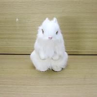 Small Simulation White Rabbit Toy Plastic Fur Cute Rabbit Doll Gift About 8x12x14cm A42