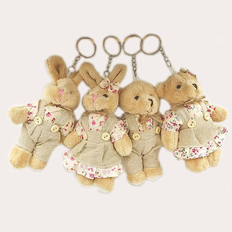 2 pçs/lote Simulação Coelho Cabelo Urso Boneca de Brinquedo de Pelúcia Crianças boneca de Presente de Aniversário saco Chaveiro Decoração Acessórios pingente de Pelúcia