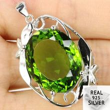 Guaranteed Real 925 Solid Sterling Silver 8.4g Big Deluxe Oval Gemstone Green Peridot Pendant 35x25mm