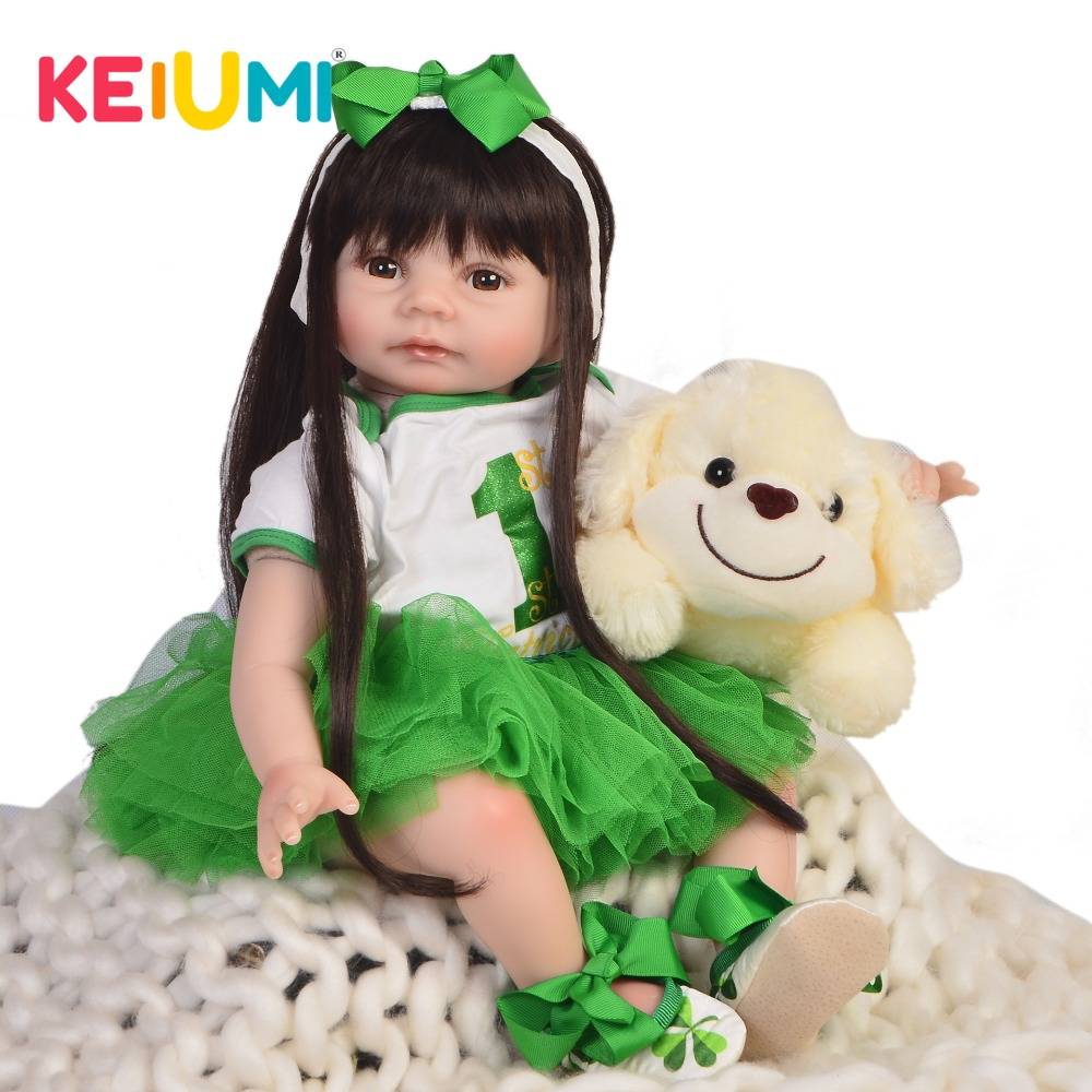 KEIUMI 22'' Reborn Princess Baby Soft Silicone Vinyl Body Realistic Reborn Babies Dolls Girl For kids Children's Day XMAS Gifts keiumi 23 babies girl reborn baby doll full body silicone vinyl realistic 57 cm princess new born boneca reborn boneca gifts