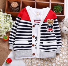 Fashion Style Bestselling Baby Kids Children Girls Boys Bear Strip Cotton Wool Cardigans Long Sleeve coat Sweaters V-Neck