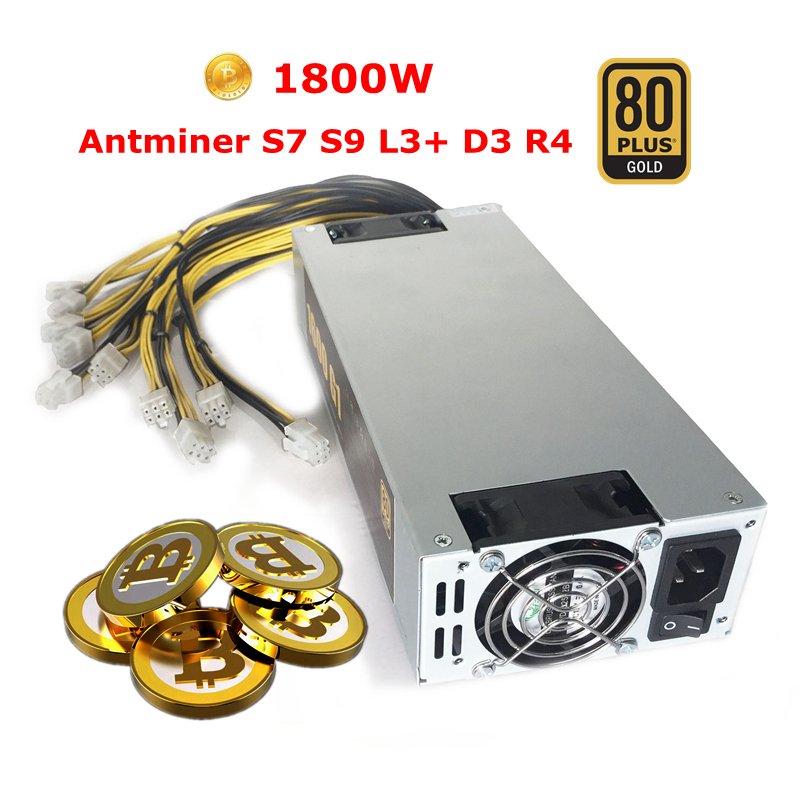 Bitcoin Mining Machine Power Supple 1800w Fonte ATX 6pin Computer Power Unit For Antminer S7 S9 L3+ D3 R4 Baikal Giant X3 X10