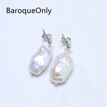 BaroqueOnly AAAA Baroque Pearl Stud Earrings White Freshwater Big Pearl Classic Fashion Trendy Jewelry 925 Silver Sterling