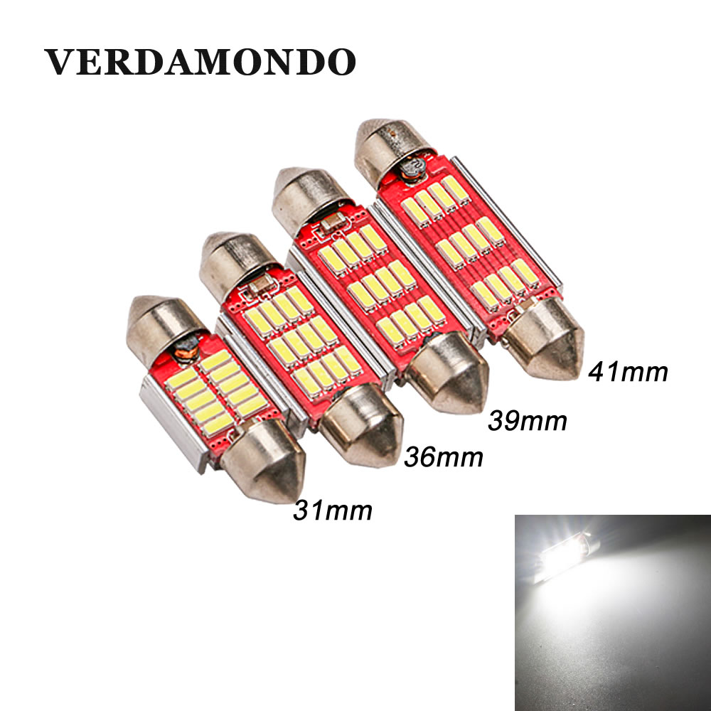 1Pcs C5W C10W 31mm 36mm 39mm 41mm Car Auto Led Lamp 12 4014 SMD Dome White Lights Festoon CANBUS Reading Map Bulbs 12V