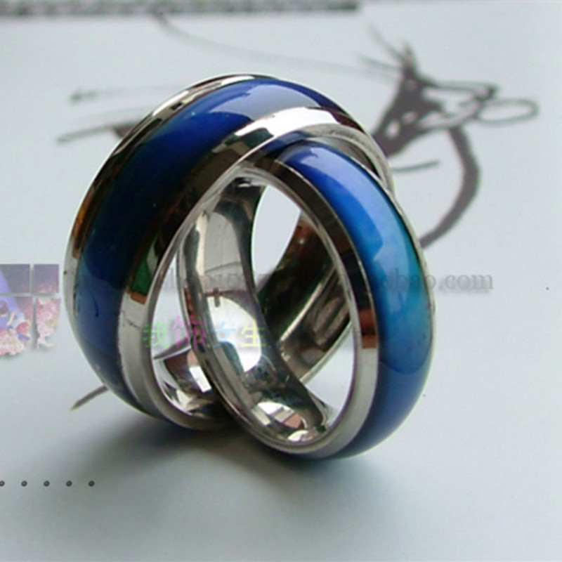 Changing Color Fashion Adjustable Mood Ring Wedding Rings For Men and Women Silver creative hobby for
