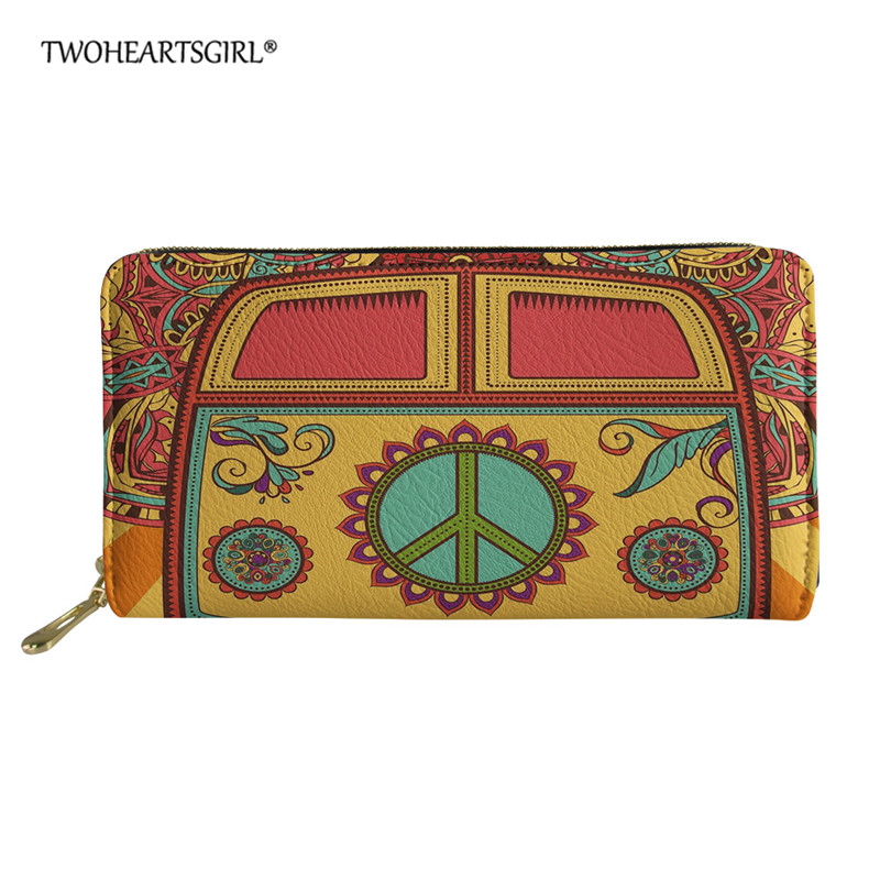 Twoheartsgirl Hippie Bus Print Wallets Women Leather Zipper Wallets Female Long Coin Purses Ladies Money Credit Card Holders