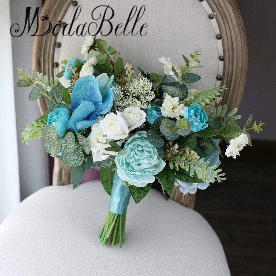 Modabelle orchid blue wedding bouquet flowers bride green floral modabelle orchid blue wedding bouquet flowers bride green floral white rose peony bridal bouquet artificial trouw boeket in wedding bouquets from weddings izmirmasajfo