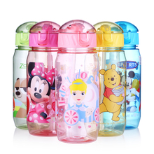 Disney 2017 Children Straw Plastic Water Bottle BPA Free Lovely Cartoon Eco-friendly With lid Portable Camp Student Water tumble