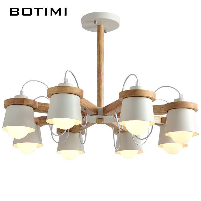 BOTIMI LED Chandelier For Hall White Suspension Lighting Fixtures E27 Chandeliers With Iron Lampshades Wooden Home Lustre