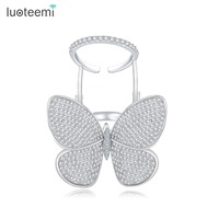 LUOTEEMI 2016 Fashion Luxury Brand Jewelry Opening Rings Butterfly Shaped Statement Cubic Zirconia Parved For Women