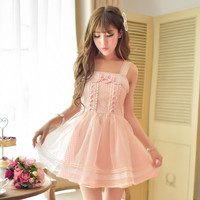 Princess sweet lolita dress Candy rain new summer sweet Japanese style Pure and fresh chiffon bind Condole belt dress C15AB5702