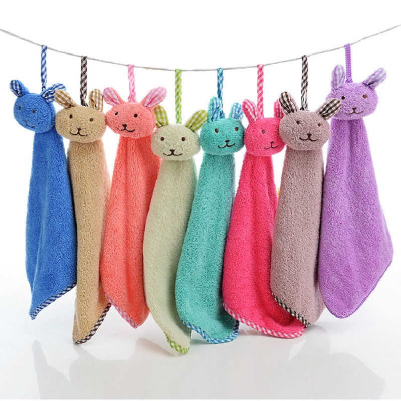 Baby Nursery Hand Towel Baby Bath Towels Toddler Soft Cartoon Animal Wipe Hanging Bathing Towel For Children Bathroom TS164