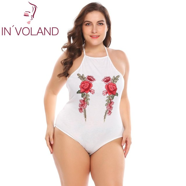 Women's Bodysuit Plus Size XL-4XL Sexy Halter Sleeveless Embroidery Backless Slim Fit Overall Romper Big Size