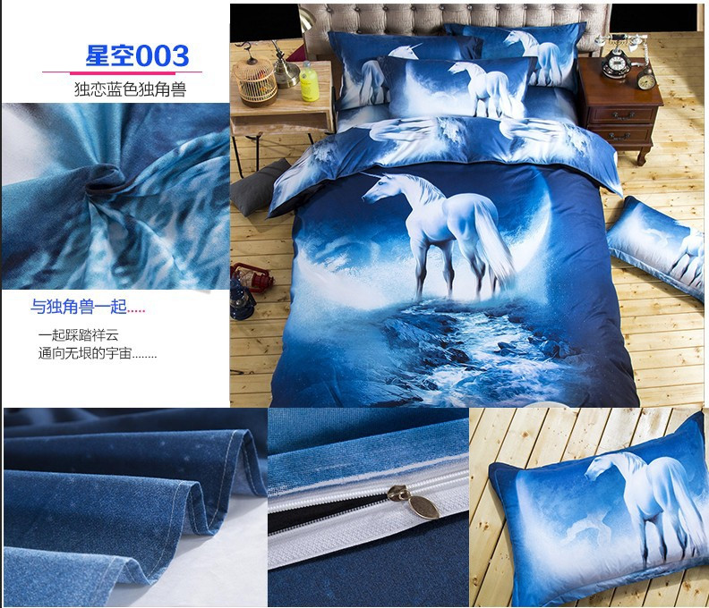 Hot 3d Galaxy bedding sets Twin/Queen Size Universe Outer Space Themed Bedspread 2/3/4pcs Bed Linen Bed Sheets Duvet Cover Set 35