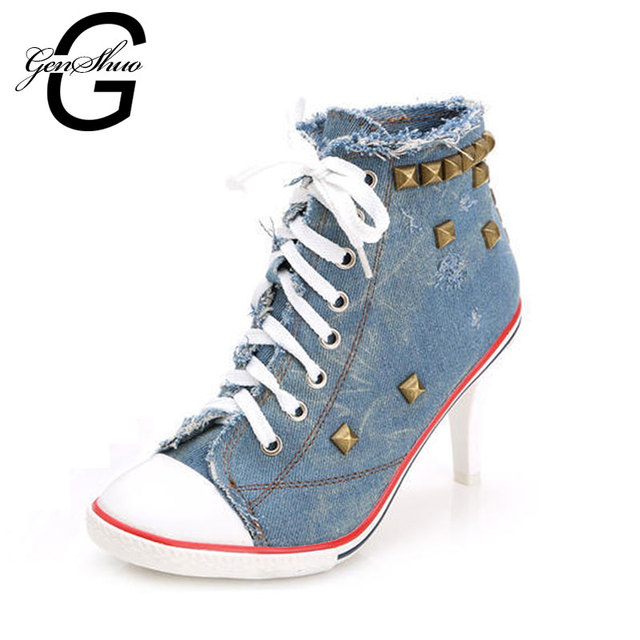 GENSHUO 2017 New Fashion Ladies Pumps Sapato Feminino Ankle Boots Women Femme Denim High Heels Designer Shoes Women Ankle Boots
