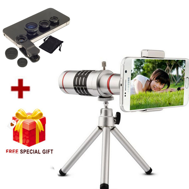 new product f7f44 6a0b1 US $25.08 35% OFF|Universal 18X Zoom Phone Telescope Telephoto Camera Lens  + Tripod for iphone 8 7 8 Plus 7 Plus Samsung XIAOMI Smartphones-in Mobile  ...