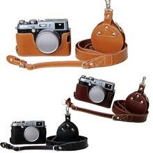 For Fujifilm X100 X100S X100T Genuine Leather Camera Case Half Bag Body + Genuine Neck Strap + Mini case for Accessories