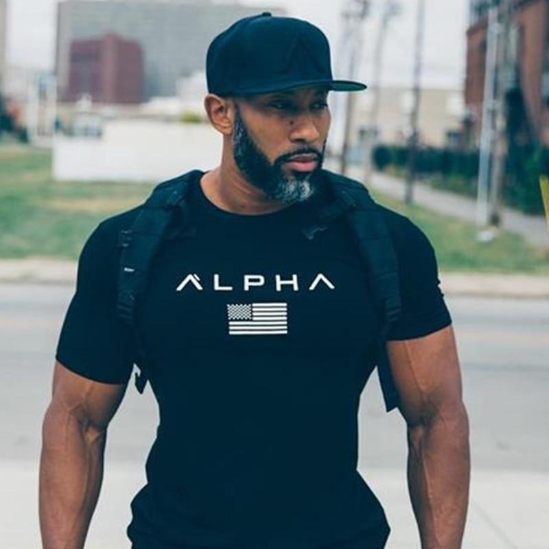 Sommar stil män bomull Kort svart t-shirt Träning Fitness - Herrkläder - Foto 2