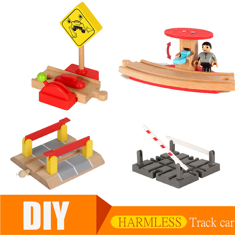 Thomas And Friends Wood Train Track Accessories Wooden Train Station Wood Track Barrier Magic DIY Educational Toys For Children