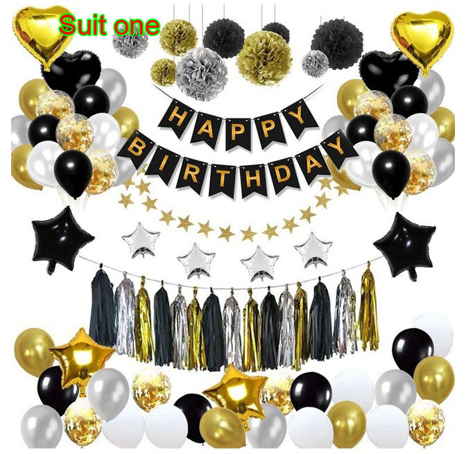 Black gold balloon pull flag birthday layout fish tail flag tassel paper flower ball five pointed star balloon package hot