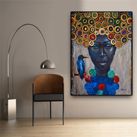 Big Size Abstract African Women Portrait Oil Painting on Canvas Art Scandinavian Posters and Prints Wall Picture for Living Room