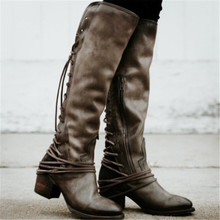 Vintage Leather Lace Up Knee High Women Boots Med Heels Round Toe Bandage Shoes Woman Square Heel Rubber Botas Winter