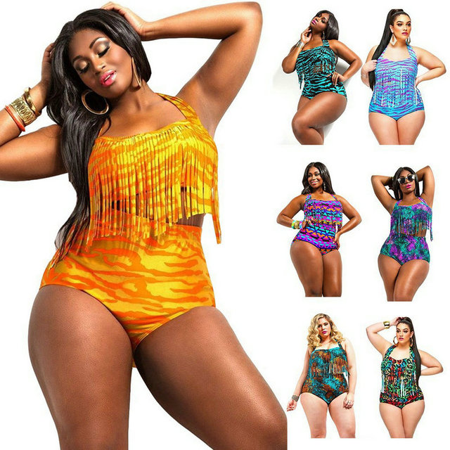 2017 New large plus size print Tassel bikini XXXL Swimwear Women Swimsuit Triangle Bikinis high waist Bikini Set bathing suit