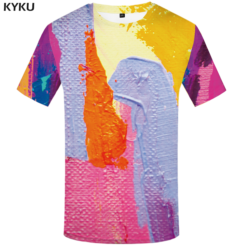 Schmuck & Zubehör Lustige T Shirts Graffiti T Shirts Männer Bunte T Hemd 3d Harajuku Druck Retro T-shirt Gedruckt Kunst T-shirts Casual Herren Kleidung Tropf-Trocken
